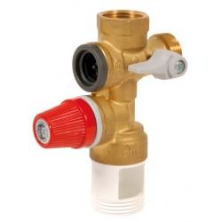 """Groupe de sécurité vertical laiton standard 3/4"""" échappement 1"""" pour chauffe eau"""