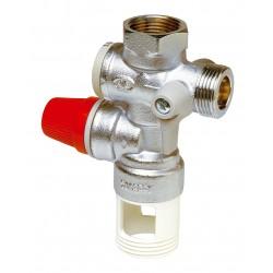 """Groupe de sécurité vertical laiton chromé standard 3/4"""" échappement 1"""" pour chauffe eau"""