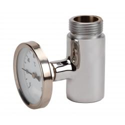 Té porte manomètre laiton chromé MF (livré sans thermomètre)