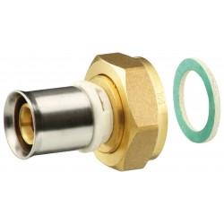 Raccord a sertir type radial écrou tournant nickelés femelle laiton pour tube multicouche