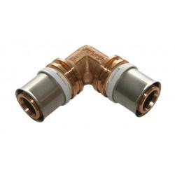 Raccord coude 90 à sertir laiton de type radial pour tubes multicouches Ø75