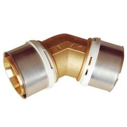 Raccord coude 45 à sertir laiton de type radial pour tubes multicouches Ø75