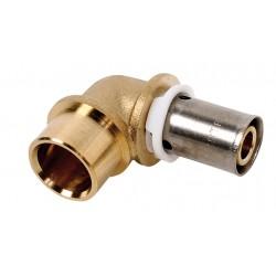 Raccord coude adaptateur pour tube cuivre à sertir type radial pour PER ou PB