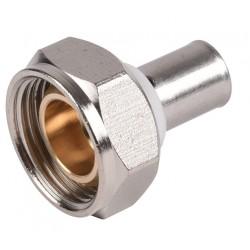 Raccord écrou tournant sphéro-conique nickelé à sertir type radial pour PER ou PB