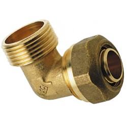 Raccord Coude Mâle à compression gros diamètres pour tube PER ou PB