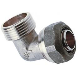 Raccord Coude Mâle nickelé à compression gros diamètres pour tube PER ou PB