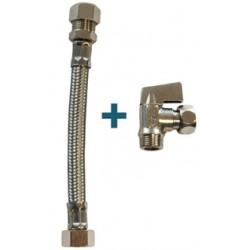 """Kit vanne à sphère équerre pour réservoir de WC + flexible 150mm 3/8"""""""