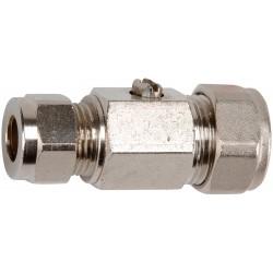 Vanne 1/4 de tour laiton chromé à joint plat / commande par tournevis bicône