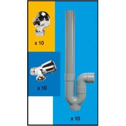 Colis de Kit pour machine à laver 10 robinets + 10 appliques + 10 siphons