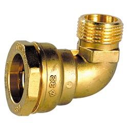 Coude 90° mâle laiton DECA à serrage extérieur pour tube polyéthylène
