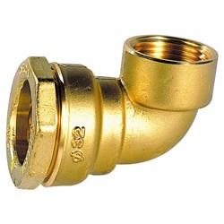Coude 90° femelle laiton DECA à serrage extérieur pour tube polyéthylène