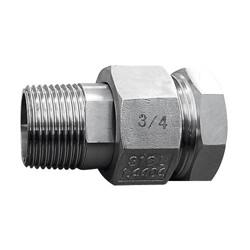 Raccord union 3 pièces usinés mâle - femelle acier inox ASTM A312 F316L BSP