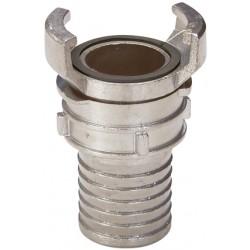 Raccord symétrique acier inox à douille annelé à verrou BSP