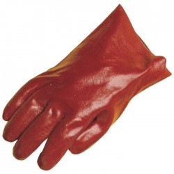 Gants PVC 27cm coton - PVC rouge