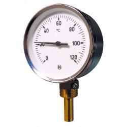 """Thermomètre radial avec plongeur de 0°C à 120°C doigt de gant Ø1/2"""""""