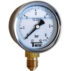 Manomètre radial à bain de glycérine boîtier inox Ø50 10 bar