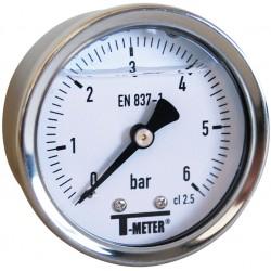 Manomètre axial à bain de glycérine, boîtier inox 10 bar