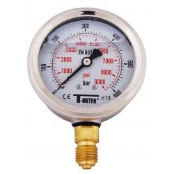 Manomètre radial 1/4'' à bain de glycérine boîtier inox Ø63 classe 1,6%