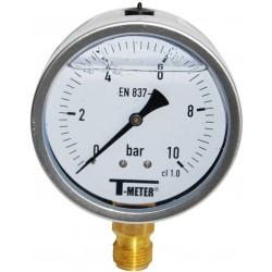 Manomètre radial 1/2'' à bain de glycérine boîtier inox Ø100 classe 1%