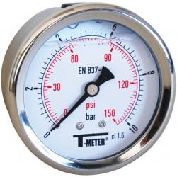 Manomètre axial 1/4'' à bain de glycérine boîtier inox Ø63 classe 1,6%