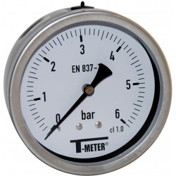 Manomètre axial 1/2'' à bain de glycérine boîtier inox Ø100 classe 1%