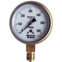 "Manomètre radial 1/2"" boîtier inox Ø100 classe 1,6%"