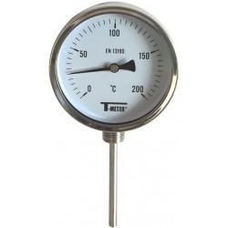 Thermomètre inox bimétallique à cadran avec raccord radial