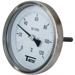 Thermomètre inox bimétallique à cadran avec raccord axial