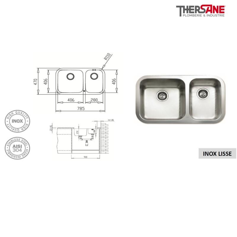 vier sous plan inox 2 cuves. Black Bedroom Furniture Sets. Home Design Ideas