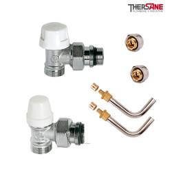 Kit de branchement complet mâle robinet thermostatique avec raccords à compression M 23 x 1.5 et raccords glissement 10/12