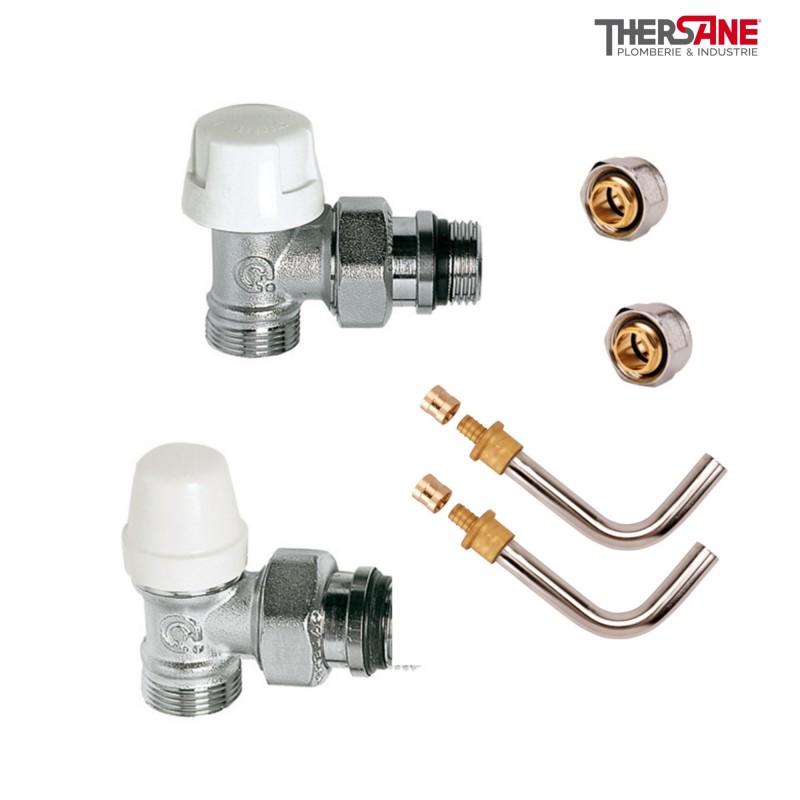 Kit de branchement complet m le raccords compression m - Reglage robinet thermostatique radiateur ...