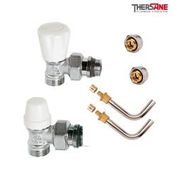 Kit de branchement complet mâle robinet thermostatisable avec raccords à compression M 23 x 1.5 et raccords glissement 10/12