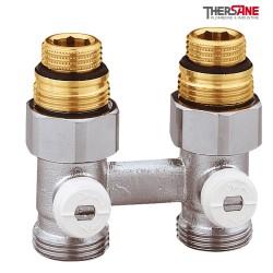 """Vannes droites doubles bitube en H pour radiateur à robinetterie intégrée 1/2"""" et 3/4"""""""