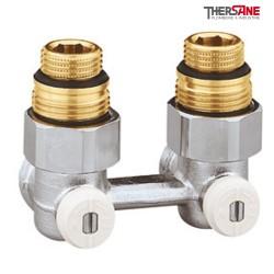 """Vannes équerres doubles bitube en H pour radiateur à robinetterie intégrée 1/2"""" et 3/4"""""""