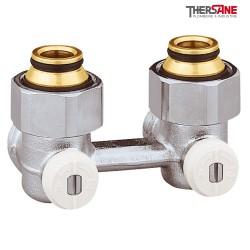 """Vannes équerres doubles bitube EUROCÔNE en H pour radiateur à robinetterie intégrée 1/2"""" et 3/4"""""""