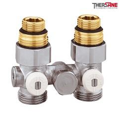 """Vannes droites doubles monotube en H pour radiateur à robinetterie intégrée 1/2"""" et 3/4"""""""