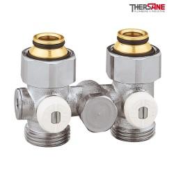 """Vannes droites doubles monotube EUROCÔNE en H pour radiateur à robinetterie intégrée 1/2"""" et 3/4"""""""