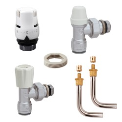 """Kit de branchement complet """"PUSH-FIT"""" pour radiateur raccords à sertir pour tube PB ou PER 13/16"""