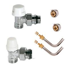 Kit de branchement complet mâle robinet thermostatique raccords à compression M 23 x 1.5 et raccords glissement 10/12