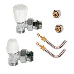 Kit de branchement complet mâle robinet thermostatisable raccords à compression M 23 x 1.5 et raccords glissement 10/12