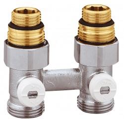 """Vannes droites doubles bitube en H pour radiateur robinetterie intégrée 1/2"""" et 3/4"""""""