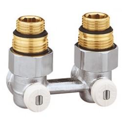 """Vannes équerres doubles bitube en H pour radiateur robinetterie intégrée 1/2"""" et 3/4"""""""