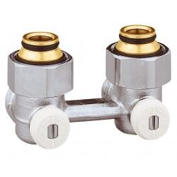 """Vannes équerres doubles bitube EUROCÔNE en H pour radiateur robinetterie intégrée 1/2"""" et 3/4"""""""