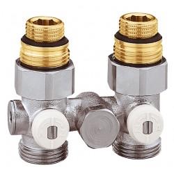 """Vannes droites doubles monotube en H pour radiateur robinetterie intégrée 1/2"""" et 3/4"""""""
