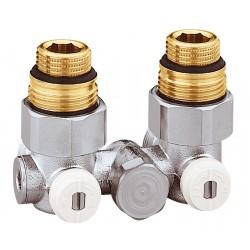 """Vannes équerre doubles monotube en H pour radiateur robinetterie intégrée 1/2"""" et 3/4"""""""