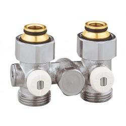 """Vannes droites doubles monotube EUROCÔNE en H pour radiateur robinetterie intégrée 1/2"""" et 3/4"""""""