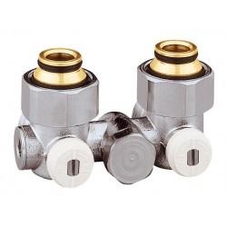 """Vannes équerres doubles monotube EUROCÔNE en H pour radiateur robinetterie intégrée 1/2"""" et 3/4"""""""