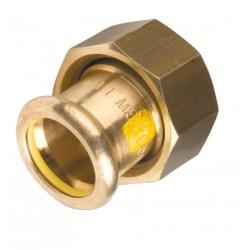 Raccord 2 pièces joint plat compteur cuivre à sertir spécial gaz et GPL